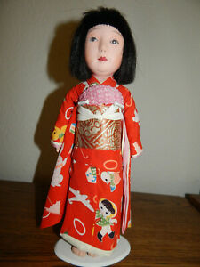 Rare Antique Japanese Ichimatsu Gofun Friendship Doll With Note From End Of Wwii