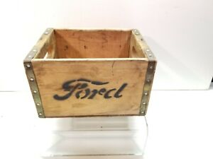 Vintage Model T Ford Script Car 8 Battery Coil Box Wood Wooden Storage Crate