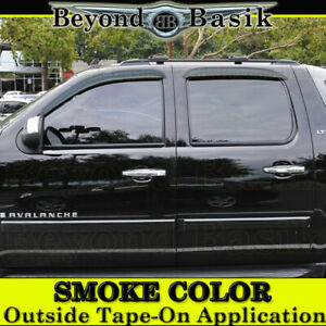 2007 2013 Chevy Silverado 1500 Crew Cab Smoke Door Visor Window Side Rain Guards