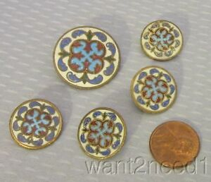 19c Antique French Brass Multicolor Cloisonne Enamel Buttons Set 5