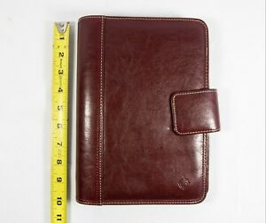 Franklin Covey Planner Burgundy 7 Ring Pockets Foam Padded Magnetic Day