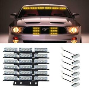 54 Led 18 Led Windshield dash grille Twinkling Warning Strobe Light Set Amber