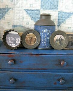 2 Tiny Antique Tin Doll Plates And 1 Pan With Old Photo Prints Free Shipping