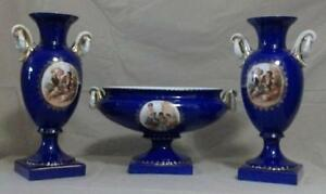 Czeckoslovakian Victoria Porcelain 3p Mantle Garniture
