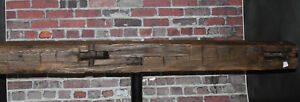 Rustic Reclaimed Mantle Hand Hewn Oak Barn Beam Wood Floating Mantel Shelf 59
