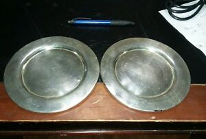 2 Oneida Silversmiths Silver Plated 7 1 2 Small Charger Saucer Plate Dishes
