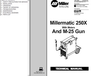 Miller Millermatic 250x With Meters M 25 Gun Service Technical Manual