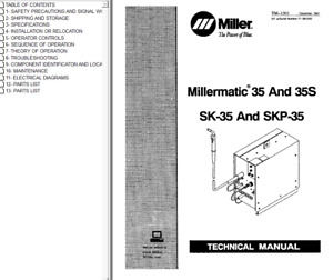 Miller Millermatic 35 And 35s Sk 35 And Skp 35 Service Technical Manual