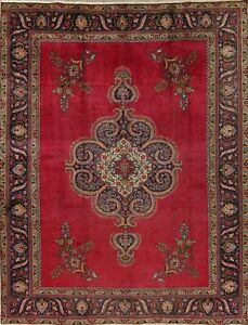 One Of A Kind Geometric Tebriz Persian Oriental Hand Knotted Wool Area Rug 9x12
