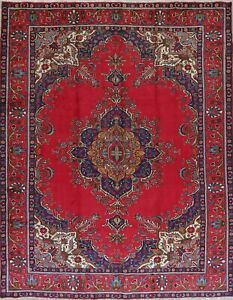 One Of A Kind Red Geometric Tebriz Persian Oriental Hand Knotted 10x13 Wool Rug