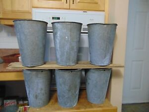 6 Maple Syrup Sap Buckets Old Galvanized Buckets Planters Flowers 6861