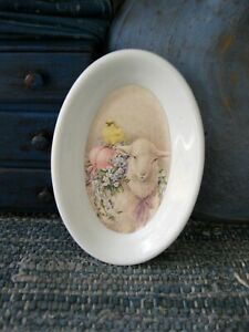 Small Antique Ironstone Platter W Old Postcard Print Spring Lamb Free Shipping