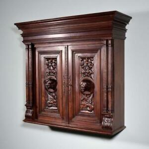 Antique French Wall Key Display Bar Cabinet In Walnut W Deeply Carved Faces