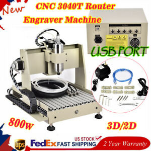 Cnc 3040t Router Engraver Machine Usb Vfd 3d Mill Spindle Desktop Carve 800w Us