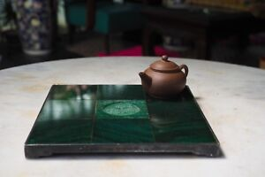 Old Antique Chinese Shikiita Kadai Tea Tray Solid Silver With Jade Fish
