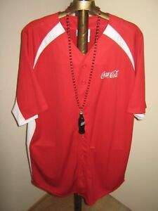 COCA COLA Baseball Jersey RED Men's size X Large + Necklace