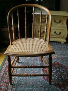 Antique Cane Seat Side Accent Dining Oak Chair Barrel Bent Back Firm Cane