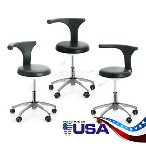 3x Dentist 360 Doctor Assistant Stool Adjustable Mobile Chair Pu Hard Leather