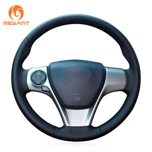 Black Leather Steering Wheel Cover Wrap Around For Toyota Camry Venza 2013 2014