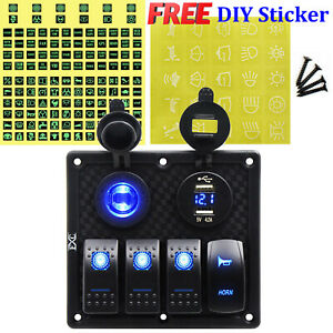 Fxc 4 Gang 12 24v For Car Rv Marine Boat Waterproof Toggle Switch Panel Blue Led