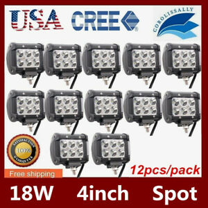 12x 4 18w Cube Led Spot Light Bar For Offroad Jeep Suv Truck 4x4 1500lm 12v24v