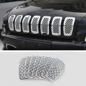 For Jeep Cherokee 2014 2018 Front Grille Inserts Mesh Trim Frame Accessories