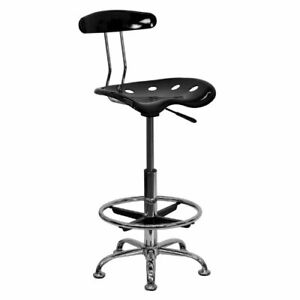 Office Chair Drafting Stool Seat Tall Height Swivel Bar Work Table Black