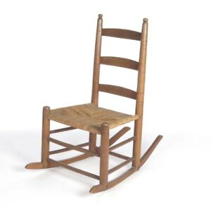 Antique Rush Seat Rocking Chair Ladder Back Primitive Country Rocker Rustic Wood