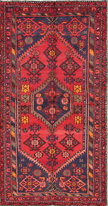 Persian Hamadan 4x6 Wool Hand Knotted One Of A Kind Geometric Oriental Area Rug