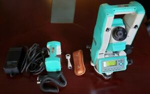Nikon Dtm 551 Total Station W charger Case 90 Degree Eye Piece 3 Batteries