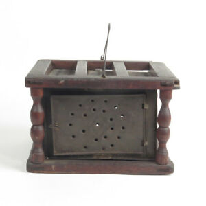 Antique Foot Warmer Primitive Punched Tin Buggy Carriage Coal Box