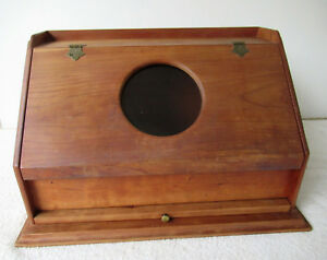 Vintage Bread Box Cherry Wood Glass Window Pull Out Cutting Board Brass Hdw