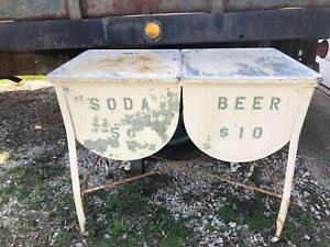 Vintage Galvanized White Metal Double Basin Wash Tub Stand With Lids