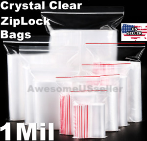 Clear Reclosable Zip Lock Plastic Ziplock Bags 1 Mil Jewelry Poly Zipper T shirt