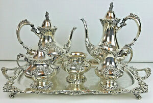 Reed Barton 6 Piece King Francis Pattern Silverplate Tea Set 1940 S
