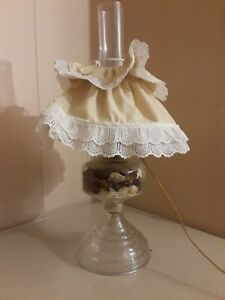 Antique Victorian Electric Lamp Glass Converted Oil Lamp With Cloth Shade