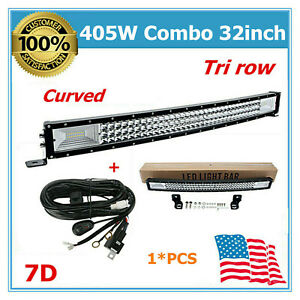 Curved 32 inch 405w Led S f Light Bar Tri Row Off Road Driving 7d Wiring Kit