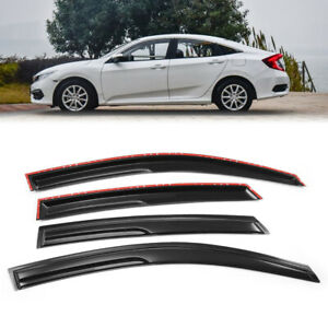 Smoked Window Visor Sun Wind Deflector Rain Sun Shade For 16 18 Honda Civic 4 Dr