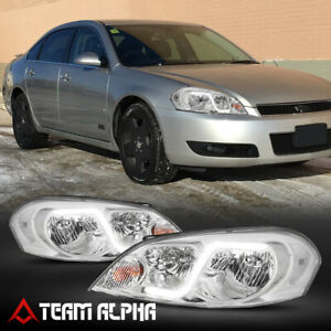 Fit 2006 2016 Chevy Impala monte Carlo led Bar Drl chrome clear Corner Headlight