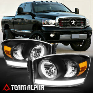 Fits 2006 2009 Dodge Ram 1500 2500 3500 led Bar Drl black amber Corner Headlight