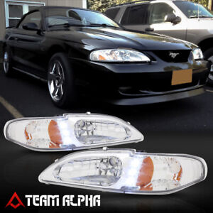 Fits 1994 1998 Ford Mustang Led Drl Chrome Clear Amber Corner 1pc Headlight Lamp
