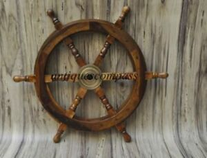 Handmade Wheel Wooden Steering Nautical Vintage Boat Ship Collectible Homedecor