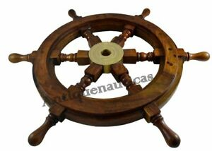 18 Inch Wooden Ship Wheel Nautical Pirate Captain Boat Steering Brass Vintage