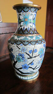 Vintage Asian Chinese Brass Cloisonne Enamel Vase With Vibrant Blues 7 Inches