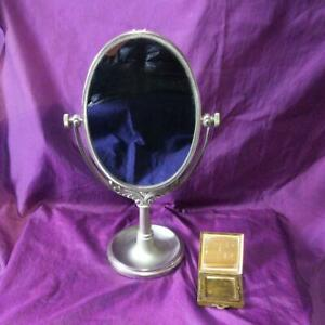 Used Vintage Shiseido Antique Stand Mirror 1973 Gold Compact Novelty Japan Retro
