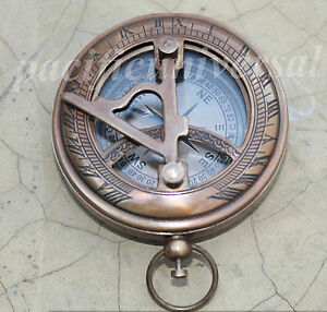 Vintage Nautical 3 Push Button Sundial Compass In Solid Brass In Anique Finish