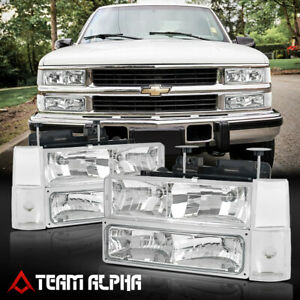 Fits 1988 1993 Chevy C k C10 Pickup chrome clear crystal Corner Headlight bumper