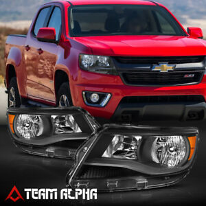 Fits 2015 2020 Chevy Colorado black clear Amber Corner Headlight Headlamp Lamp