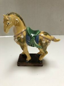 Vintage Chinese Warrior Majolica Sancai Drip Glaze War Horse Ceramic Pottery