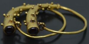 Ancient Greek 20kt Gold Granulated Horns With Garnet Earring